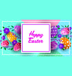 happy easter holiday celebration banner flyer or vector image