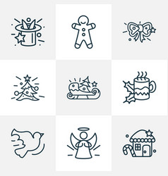 happy icons line style set with gingerbread house vector image