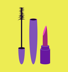 Icon in flat design fashion mascara and lipstick vector