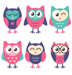 icons cute owls isolated on white vector image