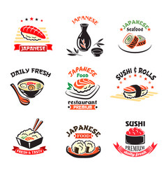 Icons set of japanese sushi food restaurant vector
