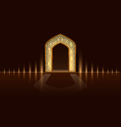 Islamic door of the mosque ramadan kareem vector