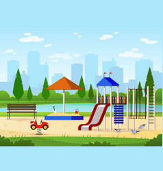 Kids playground city park playground leisure vector