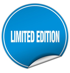 Limited edition round blue sticker isolated on vector