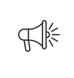 loudspeaker megaphone line black icon vector image