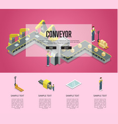 Mechanical belt conveyor isometric 3d poster vector