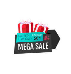 Mega sale limited time only isolated gift label vector