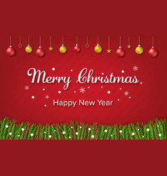 merry christmas and happy new year tree border vector image