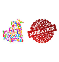 Migration collage mosaic map mauritania and vector