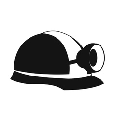 Miners helmet with lamp icon vector