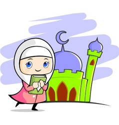 Moslem girl with mosque background vector