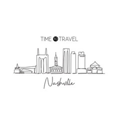 one continuous line drawing nashville city vector image
