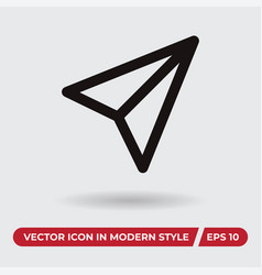 paper airplane icon in modern style for web site vector image
