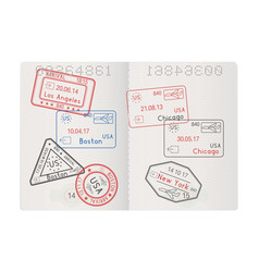 Passport pages with stamps of main usa cities vector