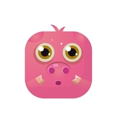 Pig Square Icon vector image