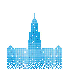 pixelated blue building mecca tower design vector image