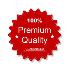 premium quality sticker red colored with shadow vector image