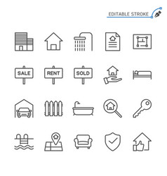 real estate line icons editable stroke vector image