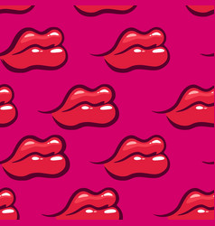 red lips on pink background - seamless pattern vector image