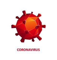 red polygonal coronavirus microorganism 3d icon vector image