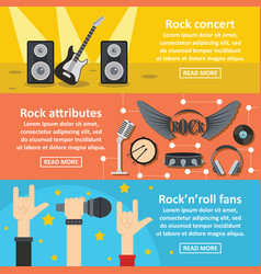 rock concert banner horizontal set flat style vector image