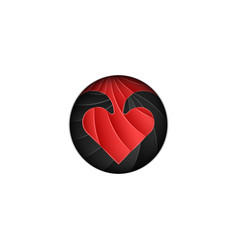round logo for valentines day scaly red heart on vector image