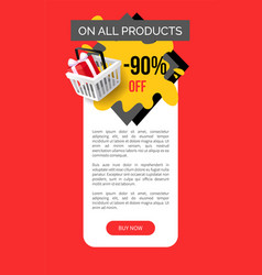 Sale on all products 90 percent shop discounts vector