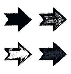 set arrow sign black texture paint vector image