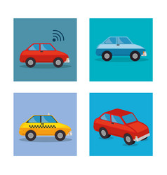 set cars styles icons vector image