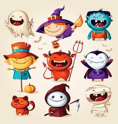 Set halloween cartoon characters illust vector