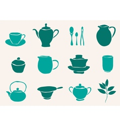 set of tea accessories vector image
