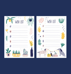 set of wish list templates decorated by vector image