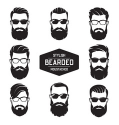 set various bearded men faces vector image