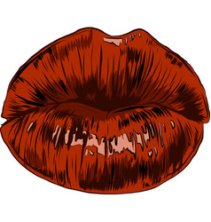 sexy woman cartoon mounth with red lips vector image