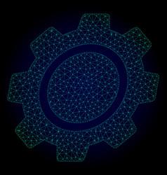 Shifted gear polygonal frame mesh vector