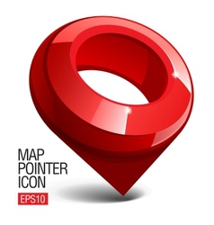 Shiny gloss red Map pointer icon vector image