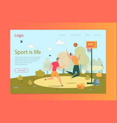 sport is life boys playing basketball banner vector image