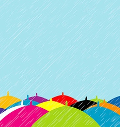 Summer rain with colored umbrellas background vector image