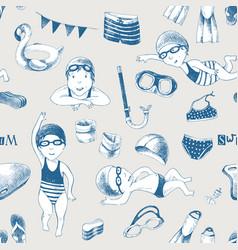 Swimming school seamless pattern vector