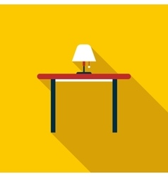 Table with floor lamp icon flat style vector