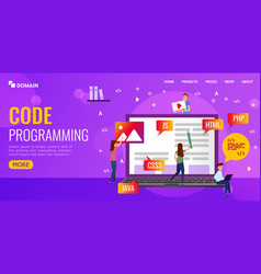 Team writes code programming for site vector