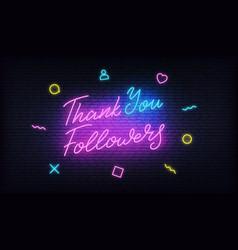 Thank you followers neon social media template vector