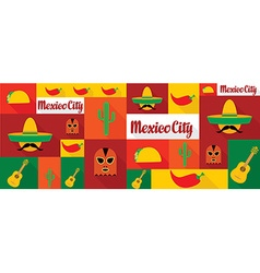 travel and tourism icons Mexico vector image