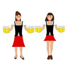 two girls with beer at the oktoberfest vector image