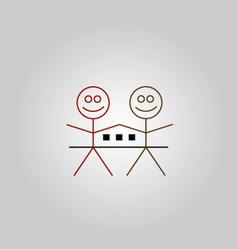 Two happy stick figures with house vector image