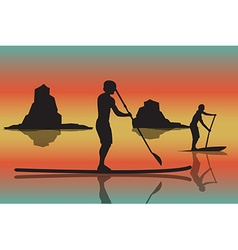 Two men with stand up paddle boards and p vector