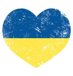 Ukraine retro heart flag vector image