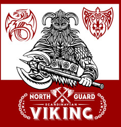 Viking warrior with big axes vector