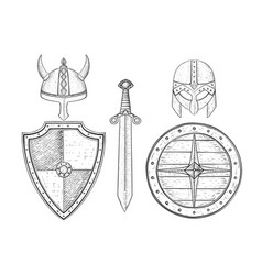 warrior weapons - old medieval shields helmets vector image