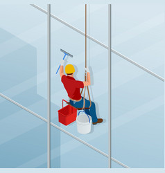 Washing and cleaning the window with a squeegee vector